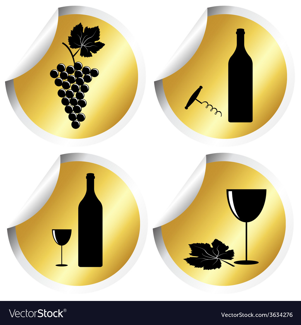 Wine icons on golden round stickers with curved vector | Price: 1 Credit (USD $1)