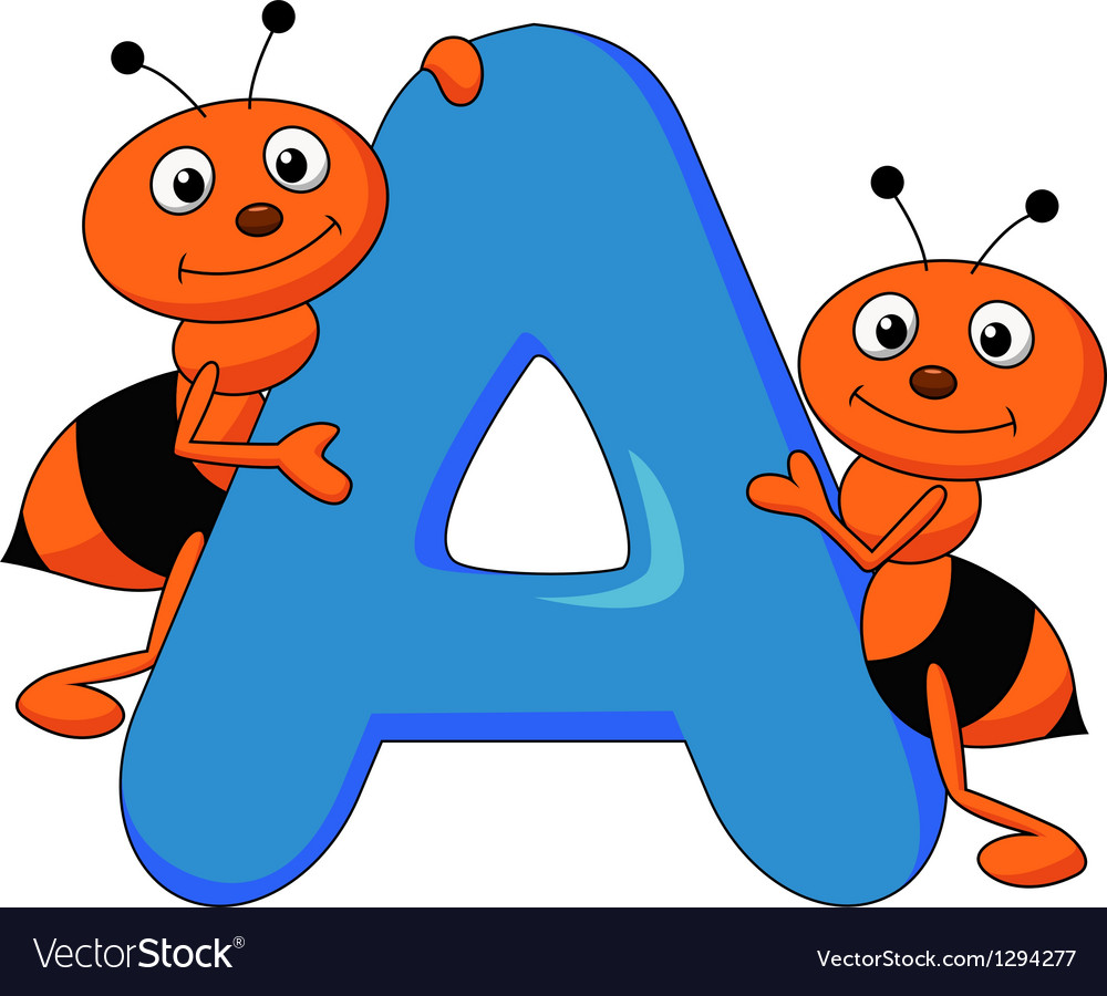 Alphabet a with ant cartoon vector | Price: 1 Credit (USD $1)
