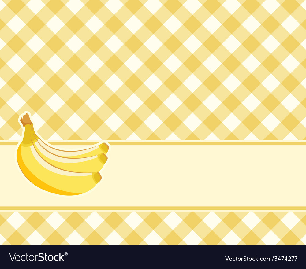 Checkered yellow background with bananas vector | Price: 1 Credit (USD $1)