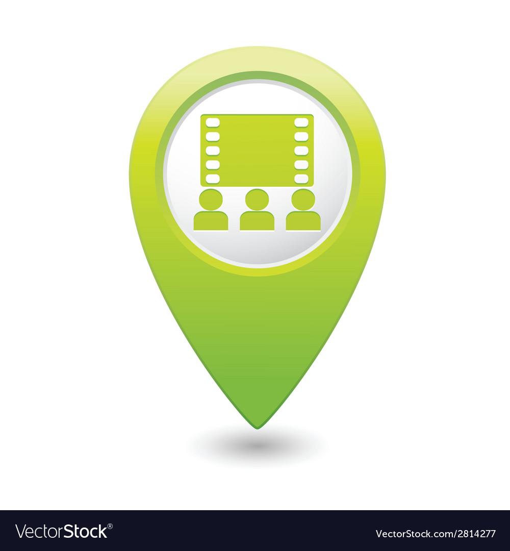 Cinema icon green map pointer vector | Price: 1 Credit (USD $1)