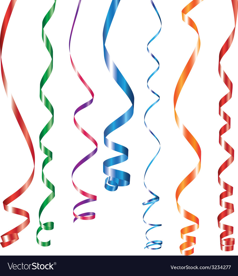 Color curling ribbons or party serpentine vector | Price: 1 Credit (USD $1)