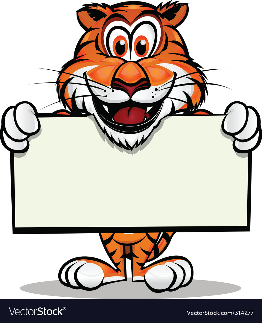 Cute tiger with sign vector | Price: 3 Credit (USD $3)