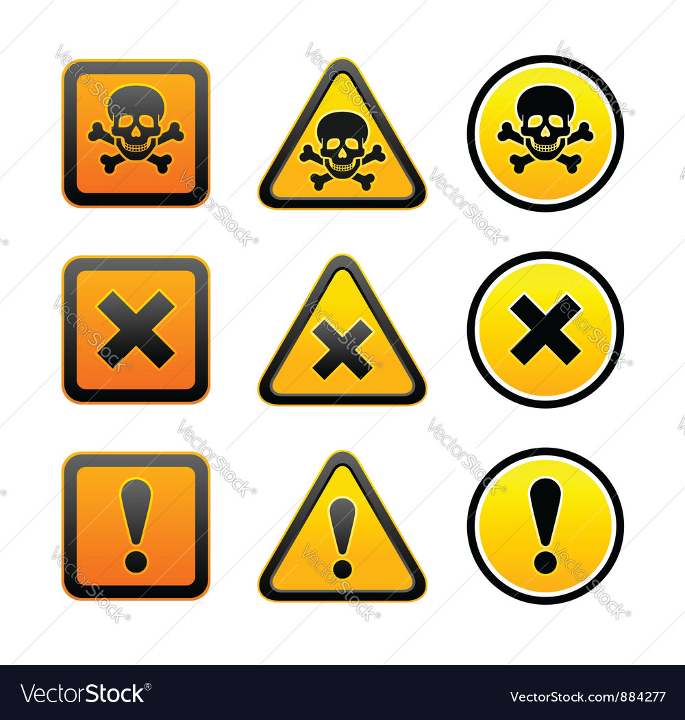 Hazard warning symbols set vector | Price: 1 Credit (USD $1)