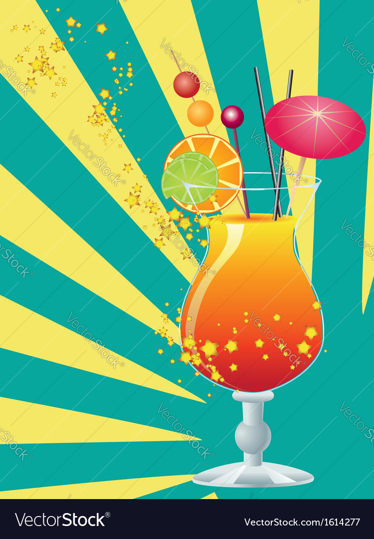 Orange cocktail with decorations vector | Price: 1 Credit (USD $1)