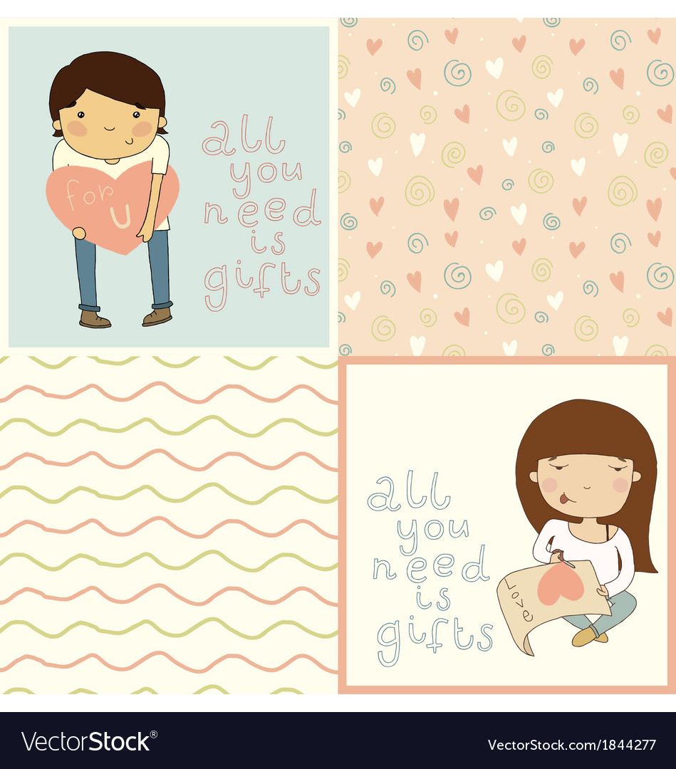Set with cute kids card and seamless pattern vector | Price: 1 Credit (USD $1)