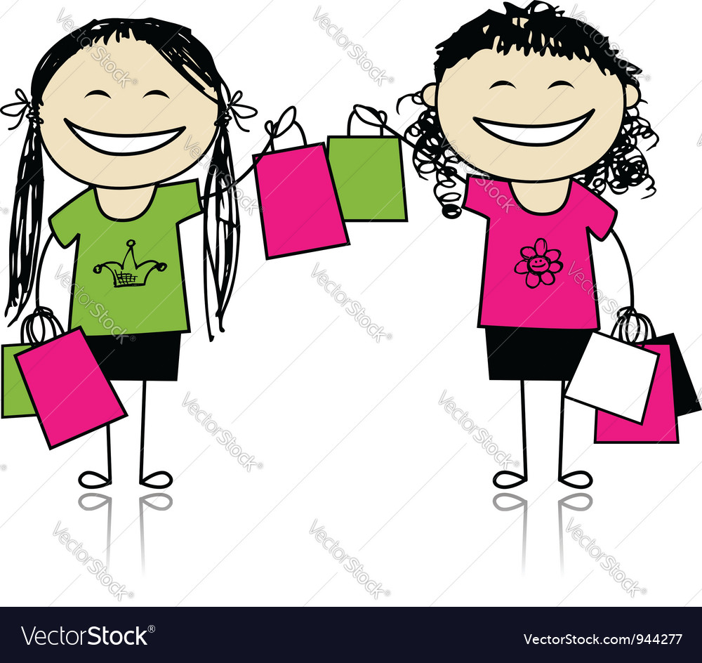 Shopping with friends girls with bags vector   Price: 1 Credit (USD $1)