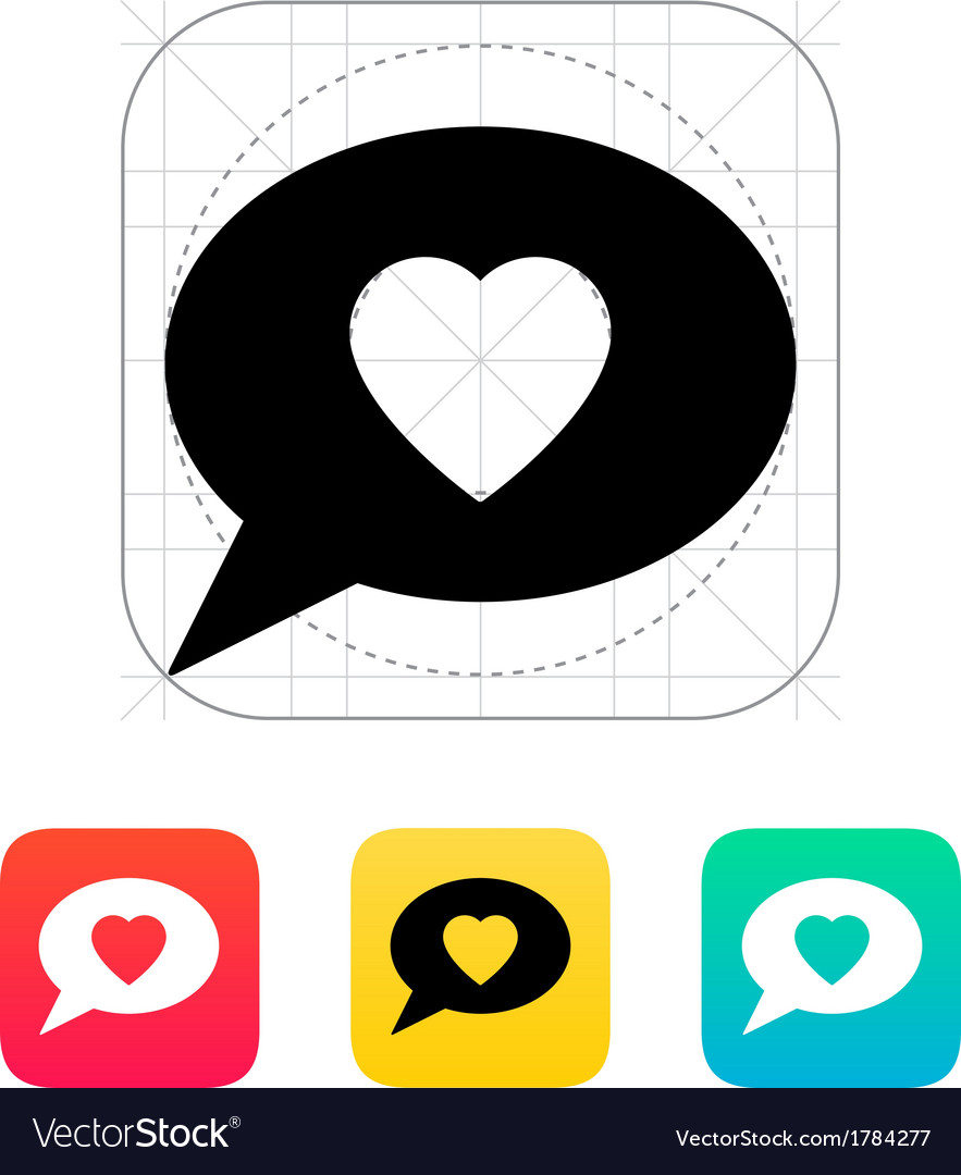 Speech bubble with heart icon vector | Price: 1 Credit (USD $1)