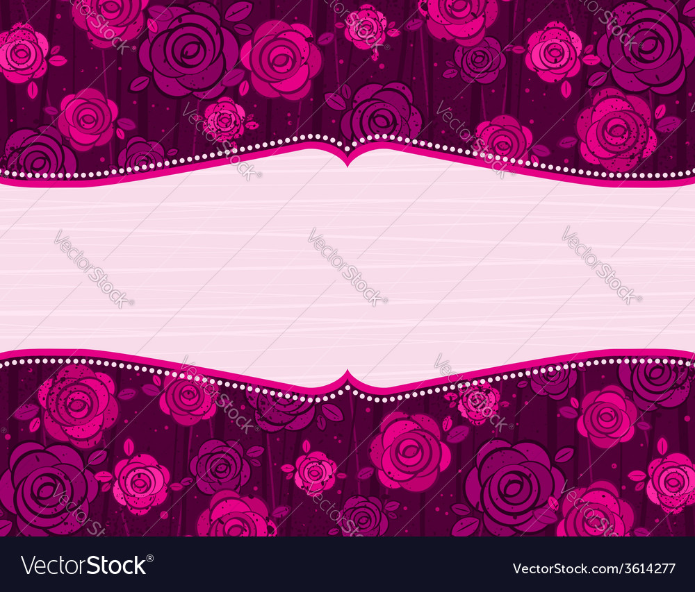 Valentine pink valentine background with roses vector | Price: 1 Credit (USD $1)