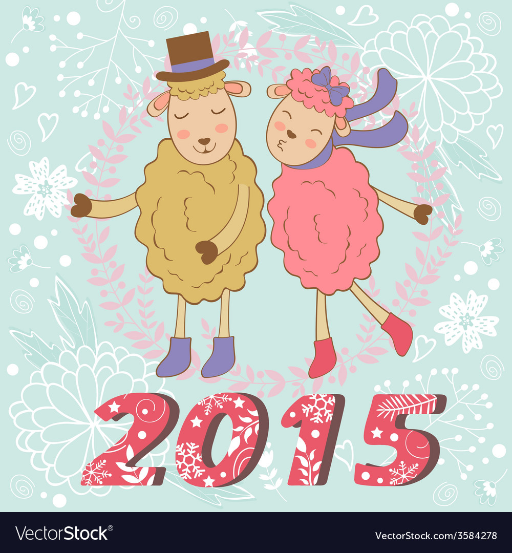2015 card with cute sheeps couple kissing vector | Price: 1 Credit (USD $1)