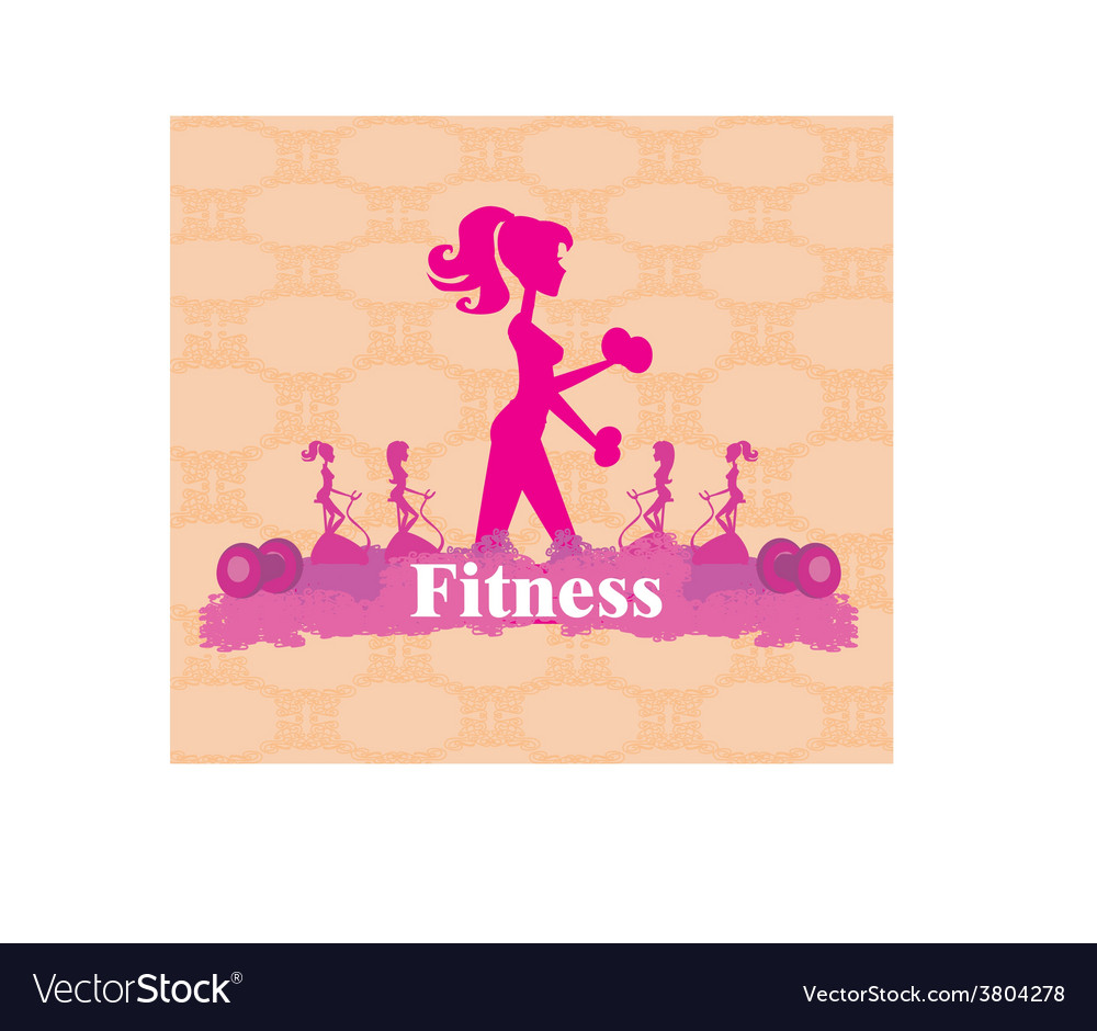 Abstract fitness girl training - poster background vector | Price: 1 Credit (USD $1)
