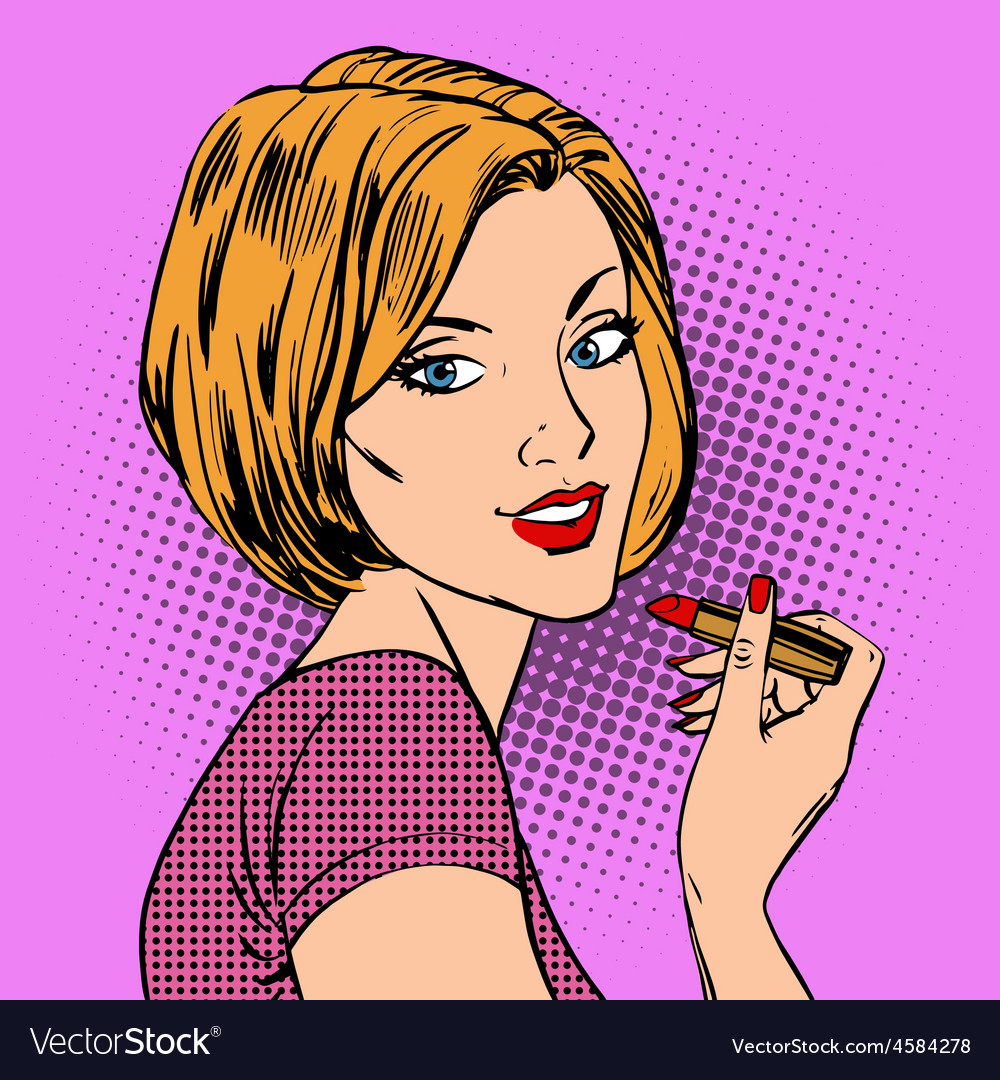 Beautiful girl paints her lips red lipstick pop vector | Price: 1 Credit (USD $1)
