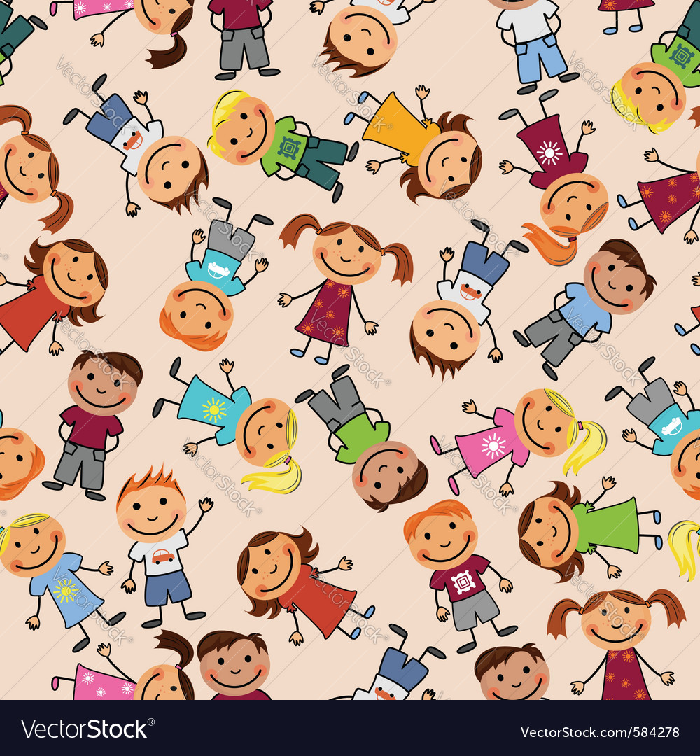 Boys and girls seamless pattern vector | Price: 1 Credit (USD $1)