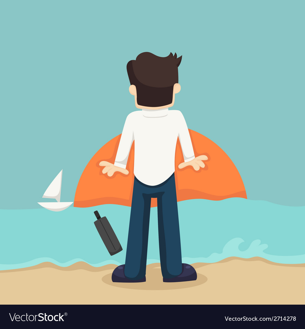 Businessman relaxing on the beach vector   Price: 1 Credit (USD $1)