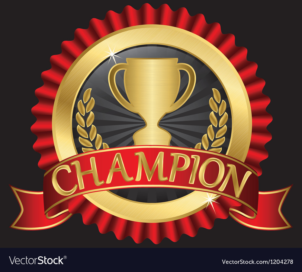 Champion cup sign with red ribbon vector | Price: 3 Credit (USD $3)