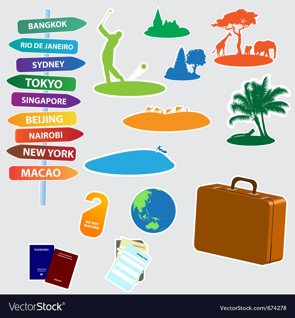Collection of exotic trip icons vector | Price: 1 Credit (USD $1)
