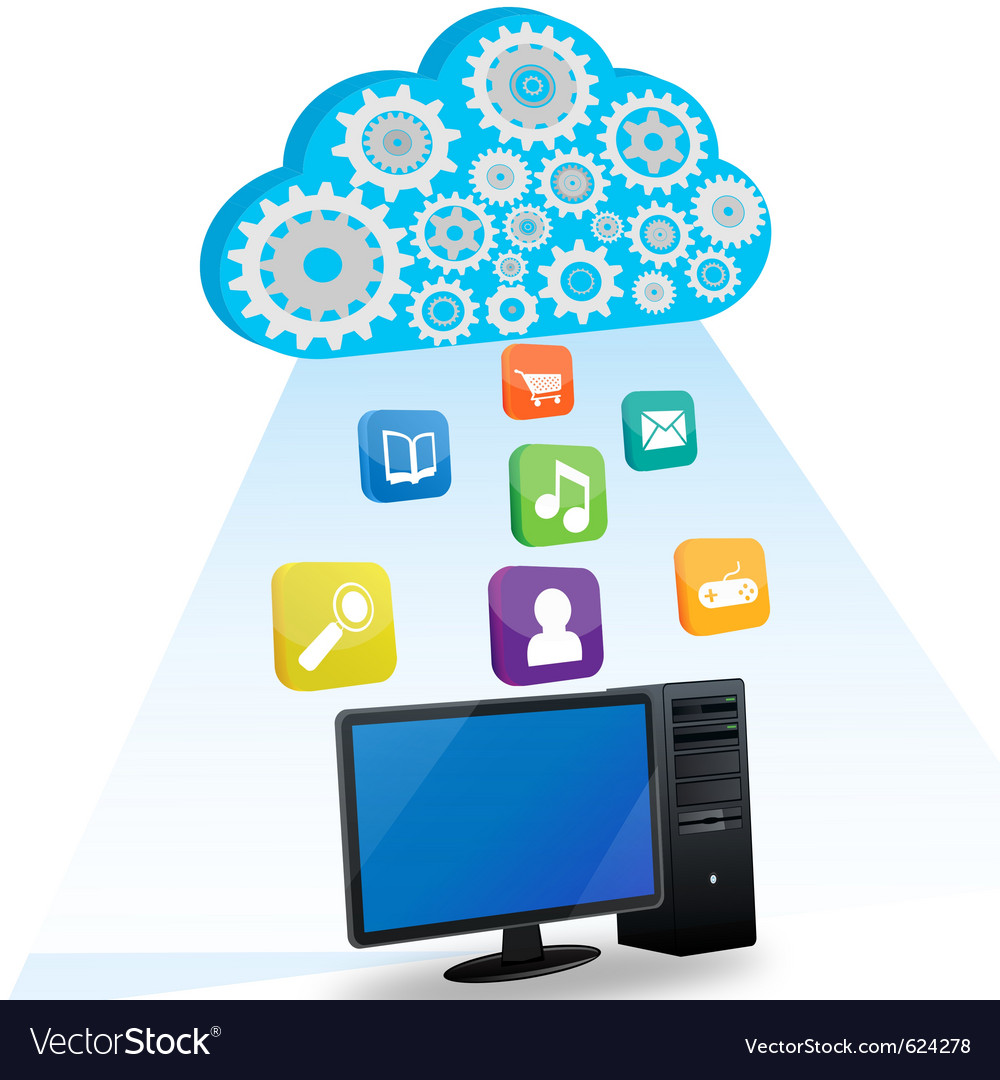 Desktop cloud computing vector | Price: 1 Credit (USD $1)