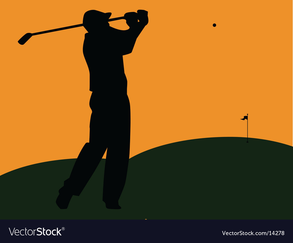 Golfer silhouette swinging at sunset vector | Price: 1 Credit (USD $1)