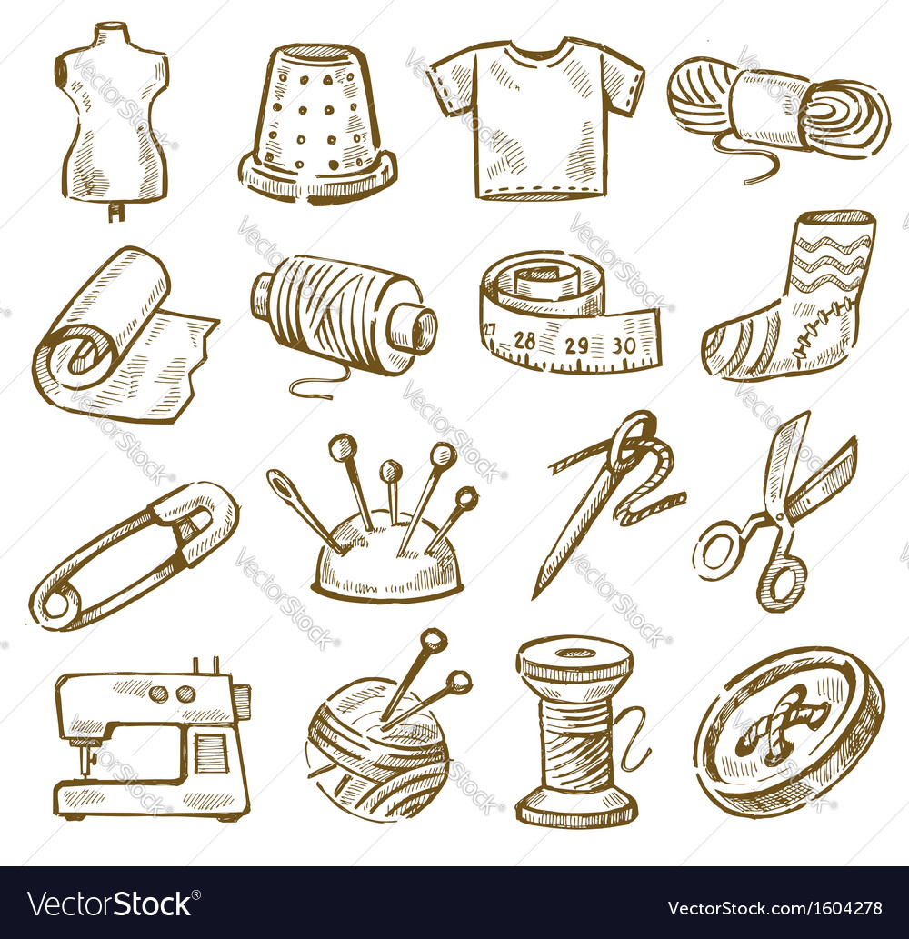 Hand drawn sewing vector | Price: 1 Credit (USD $1)