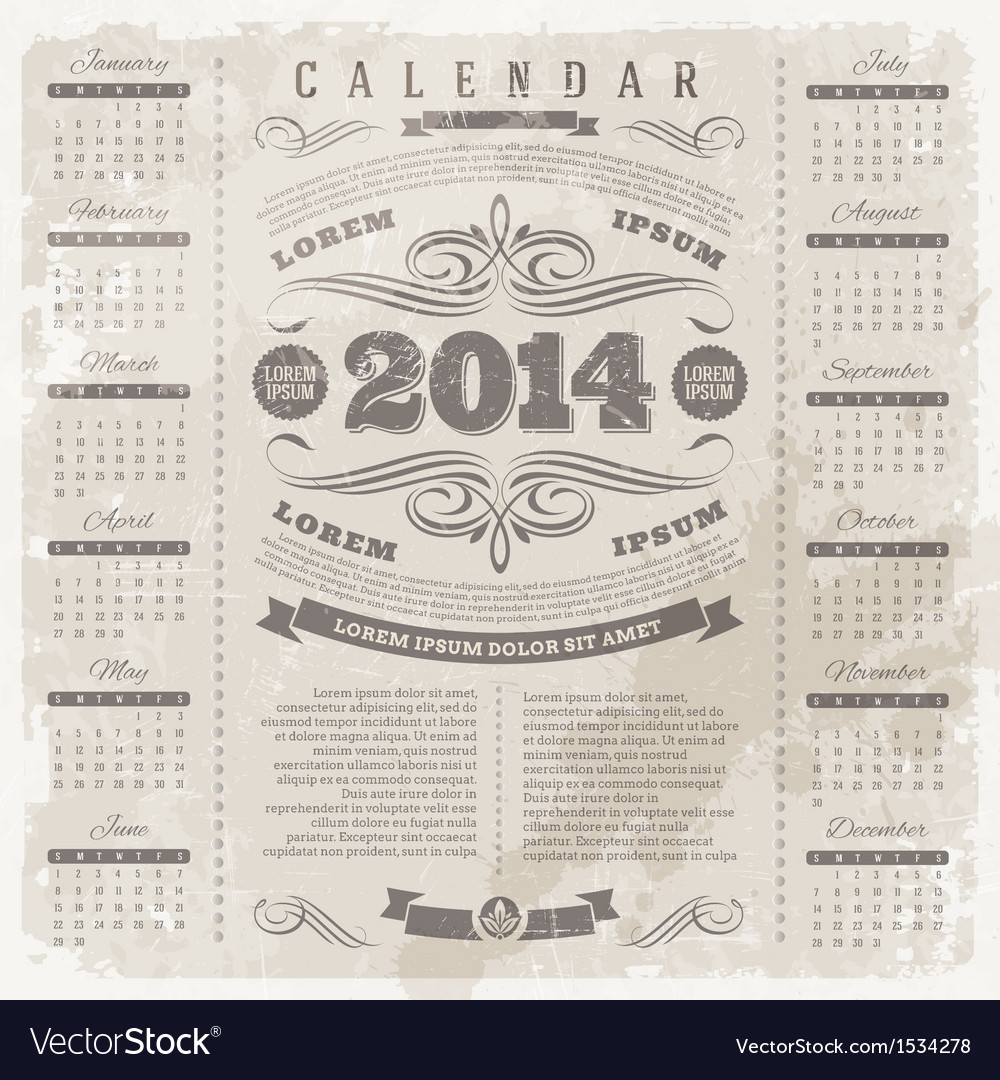 Ornate vintage calendar of 2014 year vector | Price: 1 Credit (USD $1)