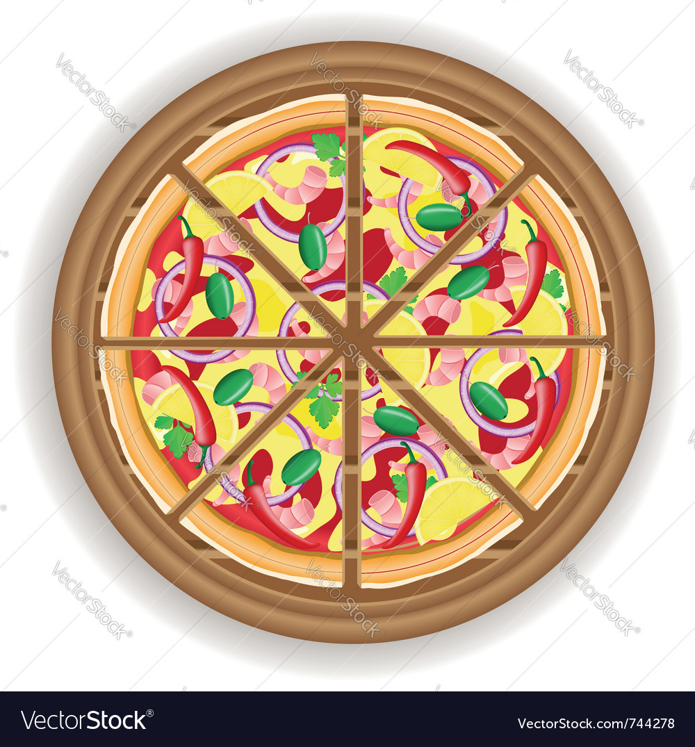 Pizza cut on a wooden board vector | Price: 1 Credit (USD $1)