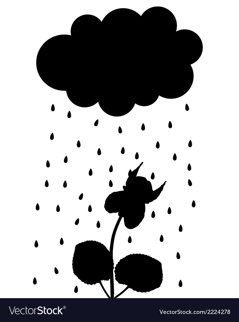 Rain cloud and viola vector | Price: 1 Credit (USD $1)