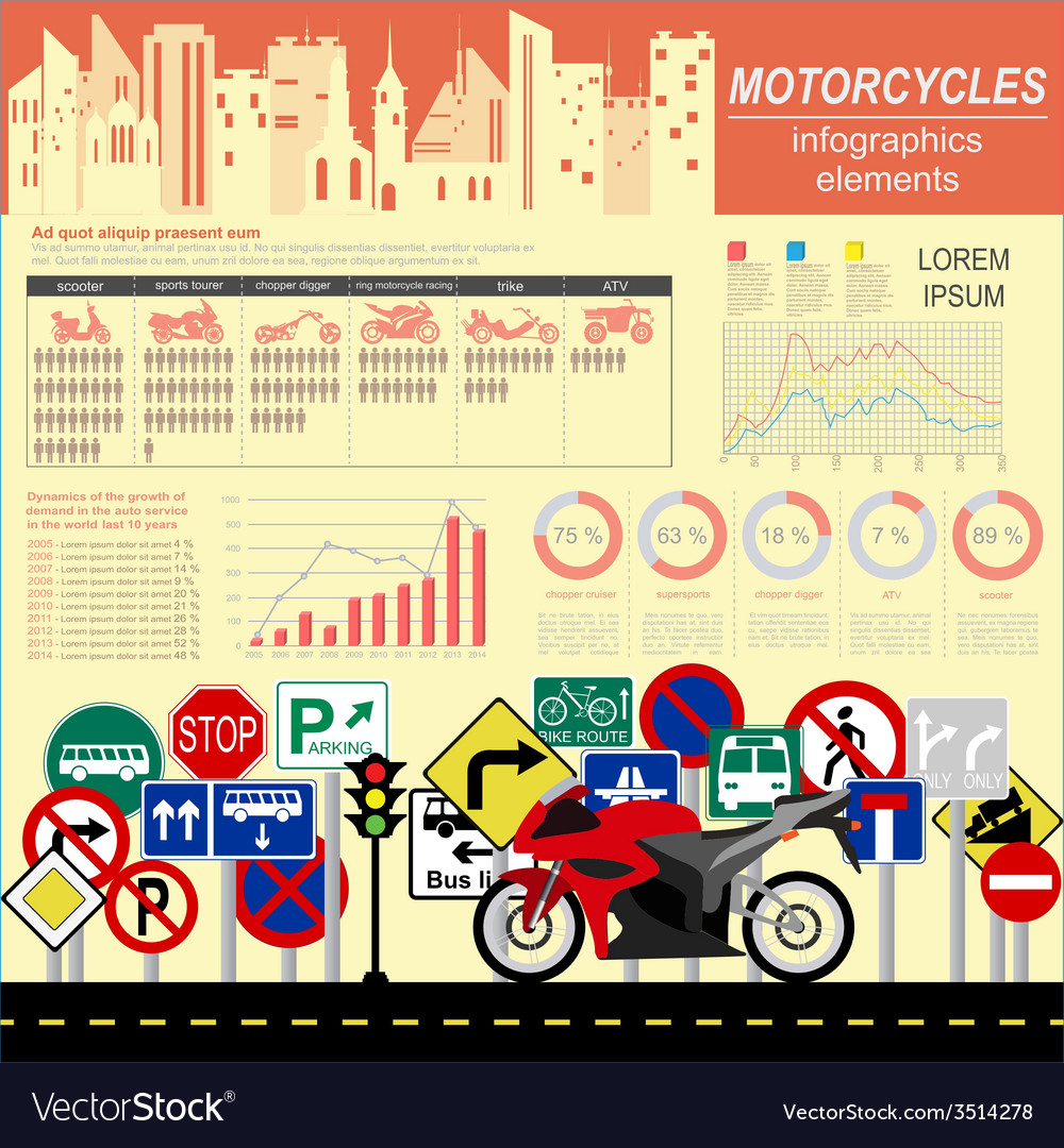 Set of motorcycles elements transportation vector | Price: 1 Credit (USD $1)