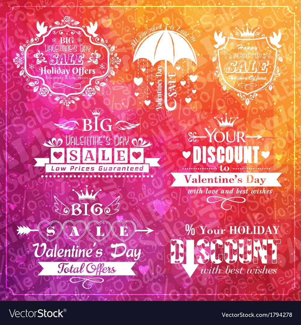 Set of valentines day sale typographic elements vector | Price: 1 Credit (USD $1)