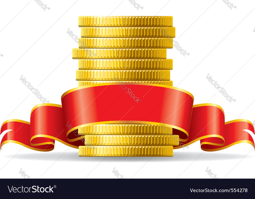 Stack of coins with a red ribbon concept of pecuni vector | Price: 1 Credit (USD $1)