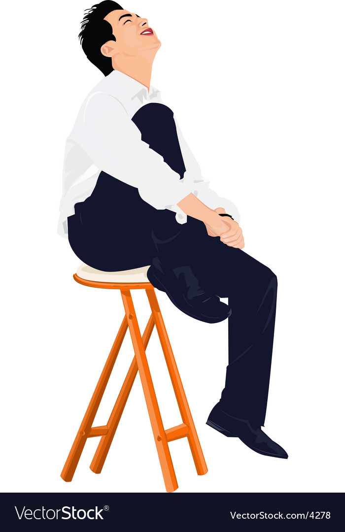 Young business man sits on stool vector | Price: 3 Credit (USD $3)