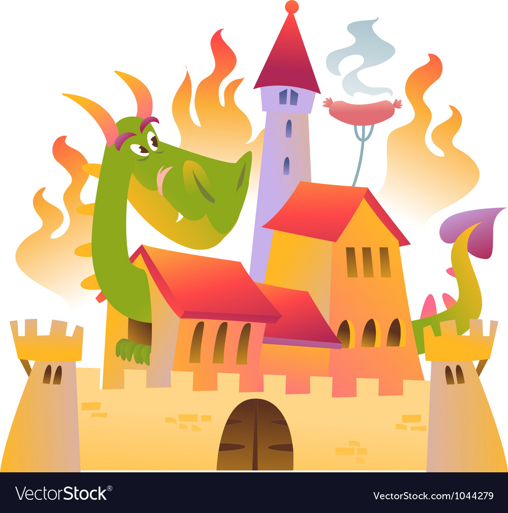 Cartoon dragon is siting in the castle in fire vector | Price: 1 Credit (USD $1)