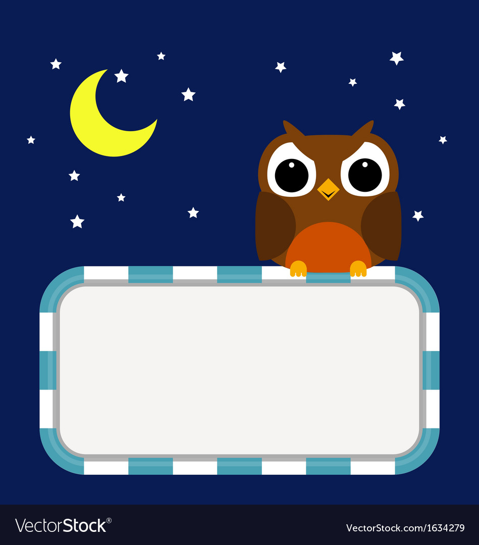 Frame with owl moon and stars vector | Price: 1 Credit (USD $1)