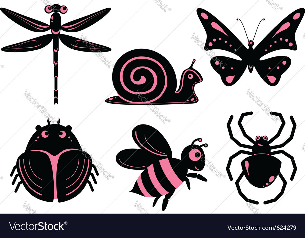 Funny stylized insects vector | Price: 1 Credit (USD $1)
