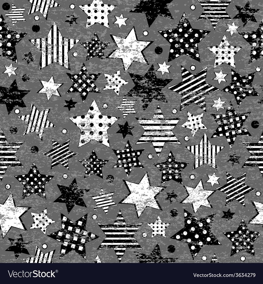 Grunge vintage stars seamless background vector   Price: 1 Credit (USD $1)