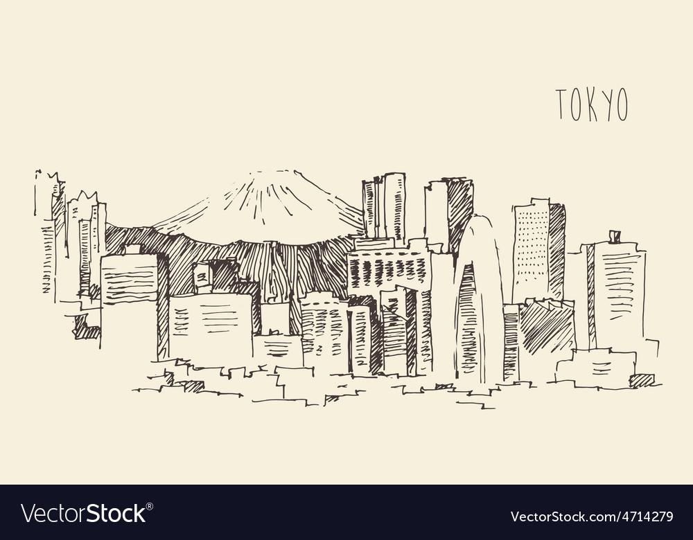 Japan tokyo city architecture vintage engraved vector | Price: 1 Credit (USD $1)