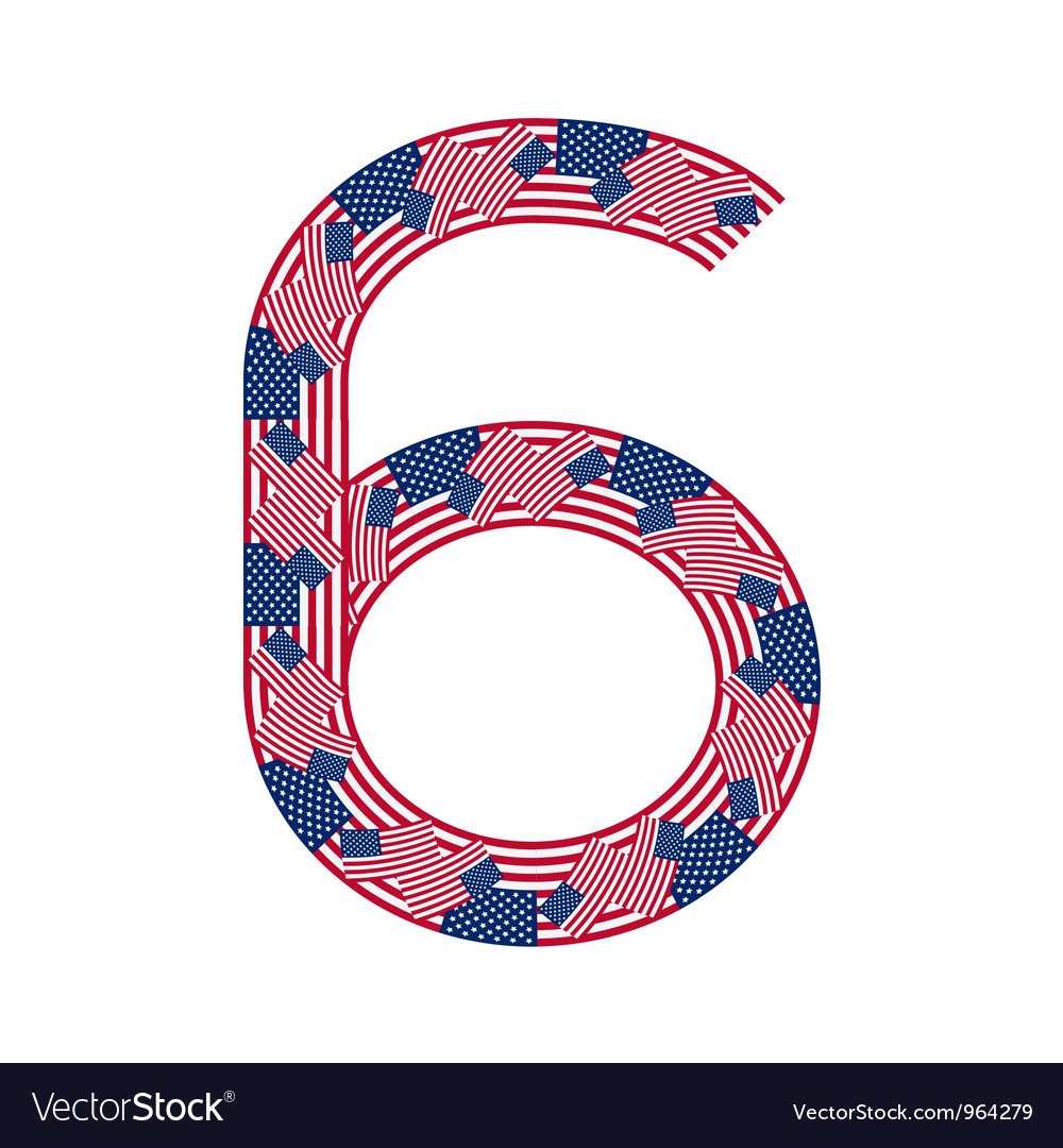 Number 6 made of usa flags on white background vector | Price: 1 Credit (USD $1)