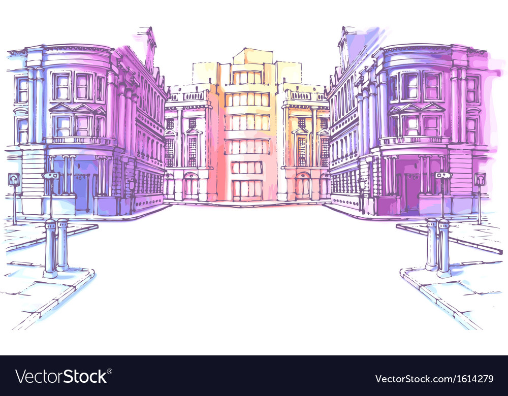 Old city street vector | Price: 3 Credit (USD $3)