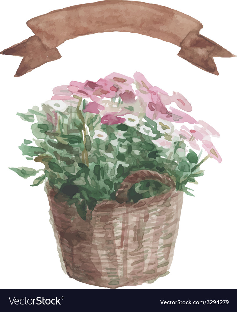 Pink flower in a flower pot beige ribbon set on vector | Price: 1 Credit (USD $1)
