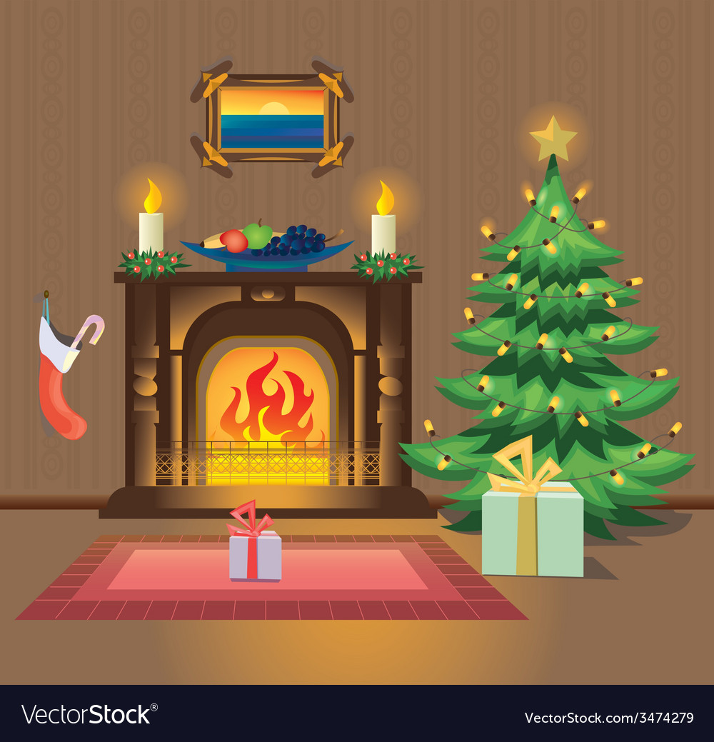 Room with fireplace on christmas vector | Price: 1 Credit (USD $1)