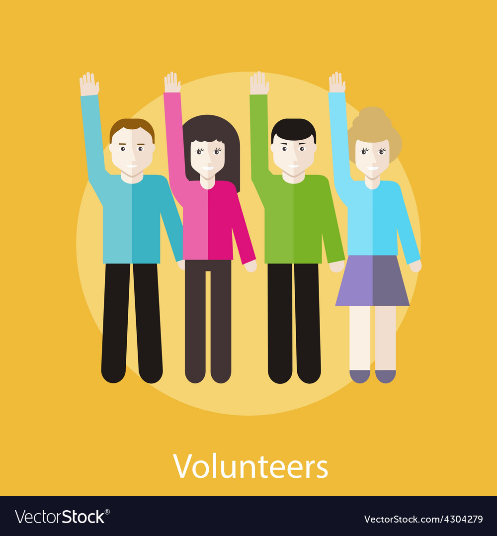 Volunteer group raising hands vector | Price: 1 Credit (USD $1)