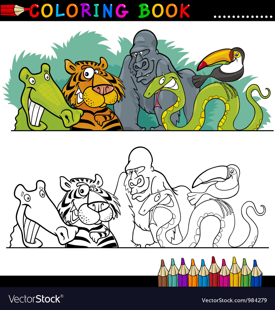 Wild jungle animals for coloring vector | Price: 3 Credit (USD $3)