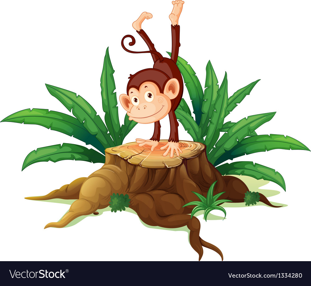 A stump with a playful monkey vector | Price: 1 Credit (USD $1)