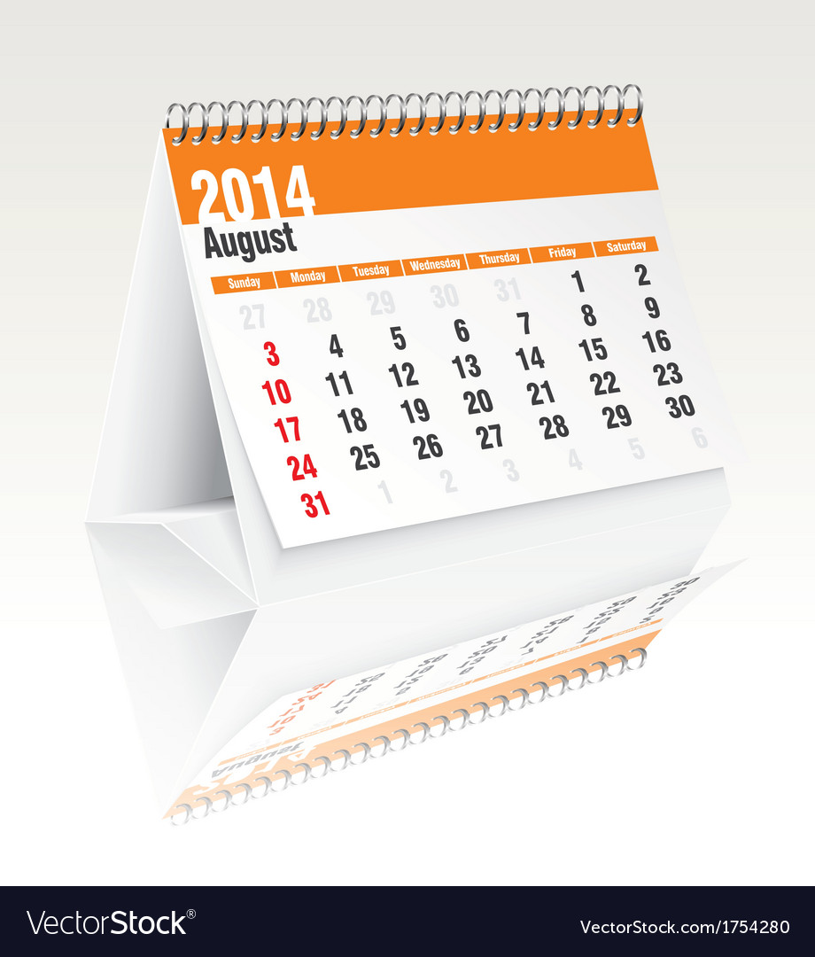 August 2014 desk calendar vector | Price: 1 Credit (USD $1)