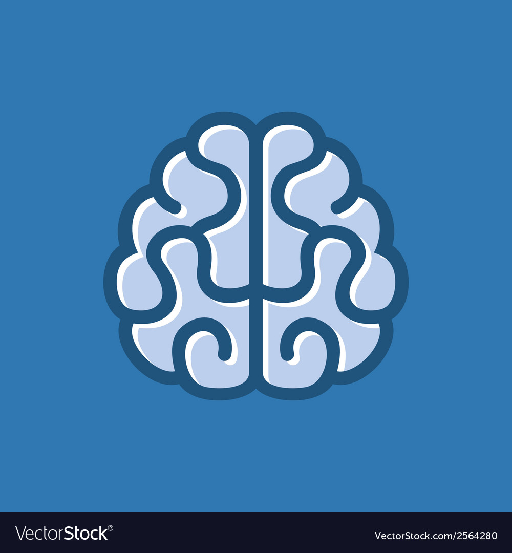 Brain icon on blue background vector | Price: 1 Credit (USD $1)