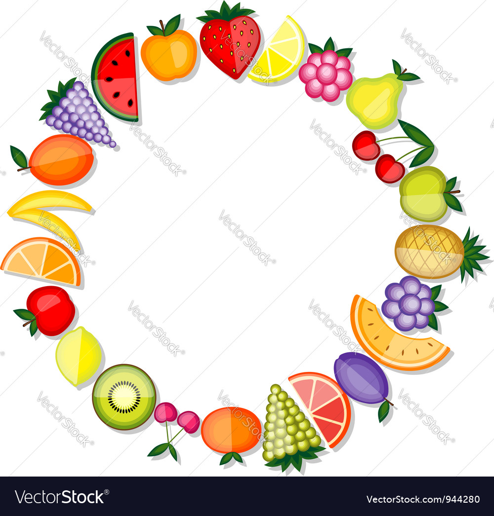 Energy fruits frame for your design vector