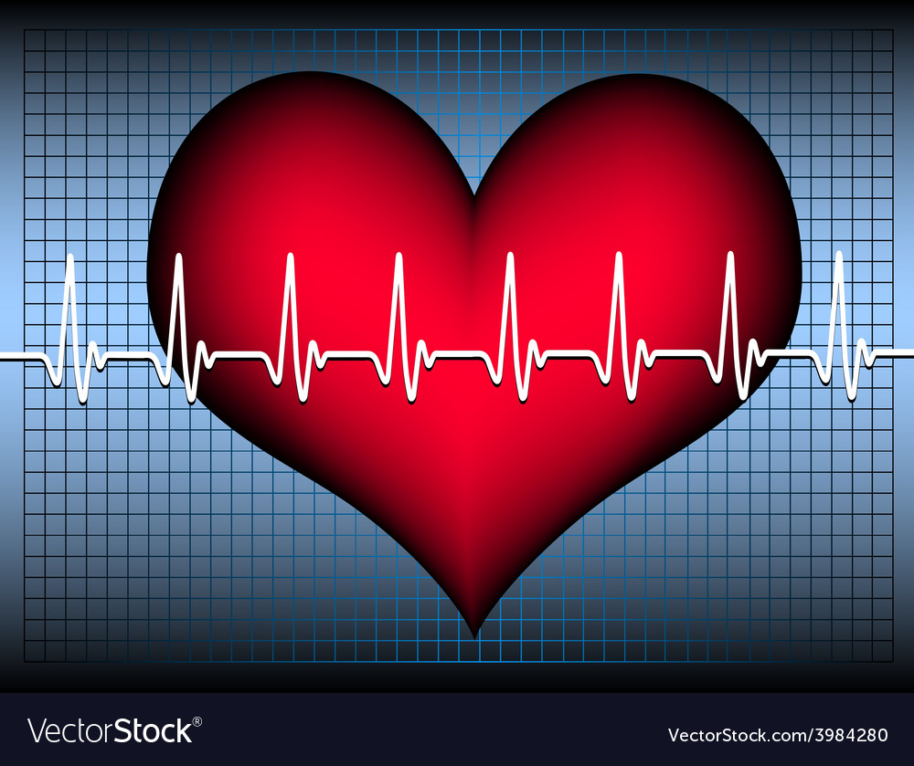 Heart on blue grid with cardiogramm vector | Price: 1 Credit (USD $1)