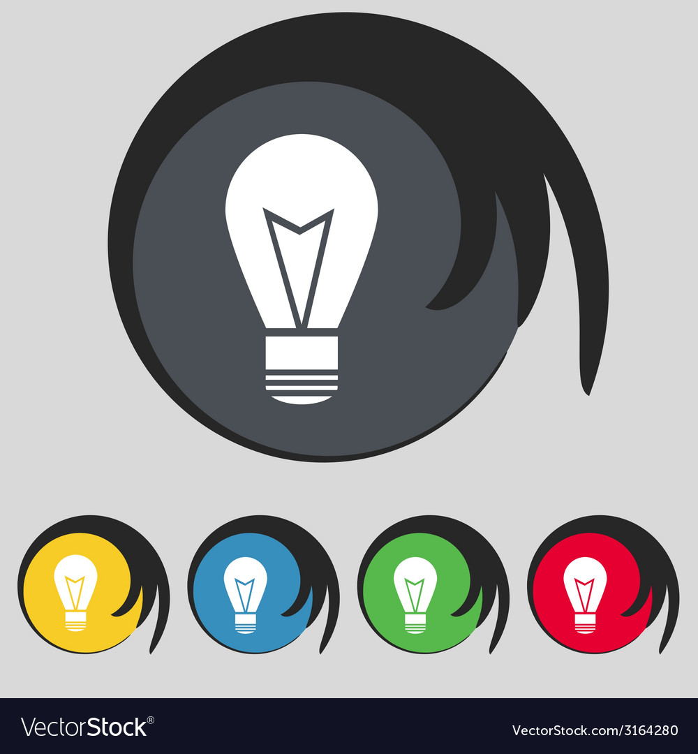 Light lamp sign icon idea symbol lightis on set of vector | Price: 1 Credit (USD $1)