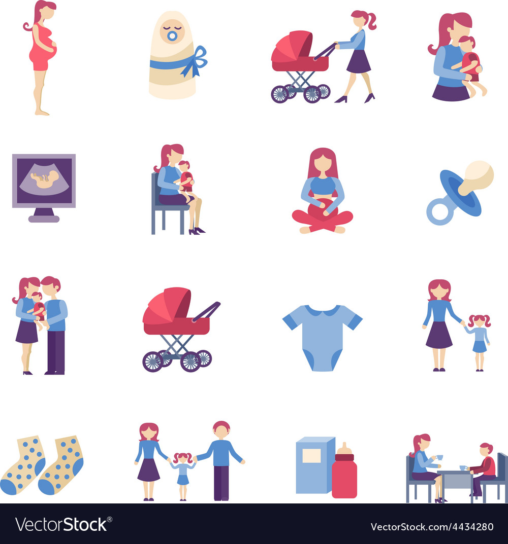 Motherhood flat icons set vector | Price: 1 Credit (USD $1)