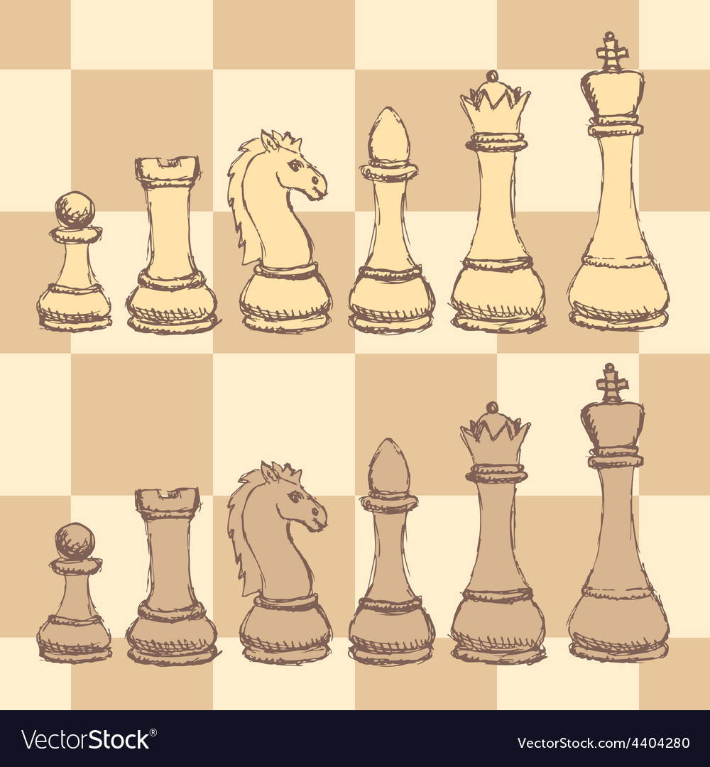 Sketch chess figurel in vintage style vector | Price: 1 Credit (USD $1)