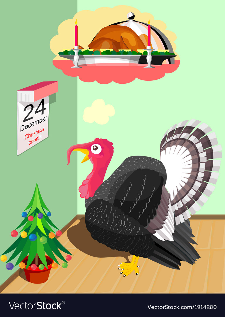 Turkey before christmas vector | Price: 1 Credit (USD $1)