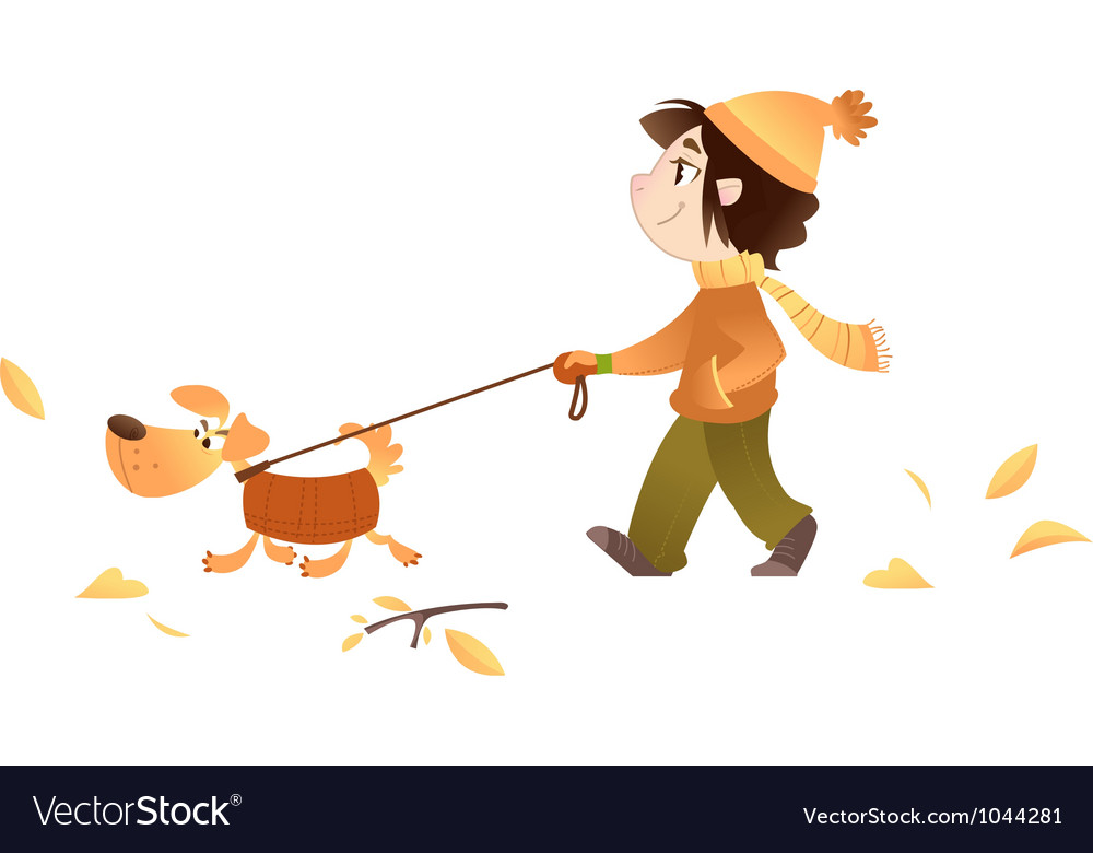 A girl walking with her dog vector | Price: 1 Credit (USD $1)